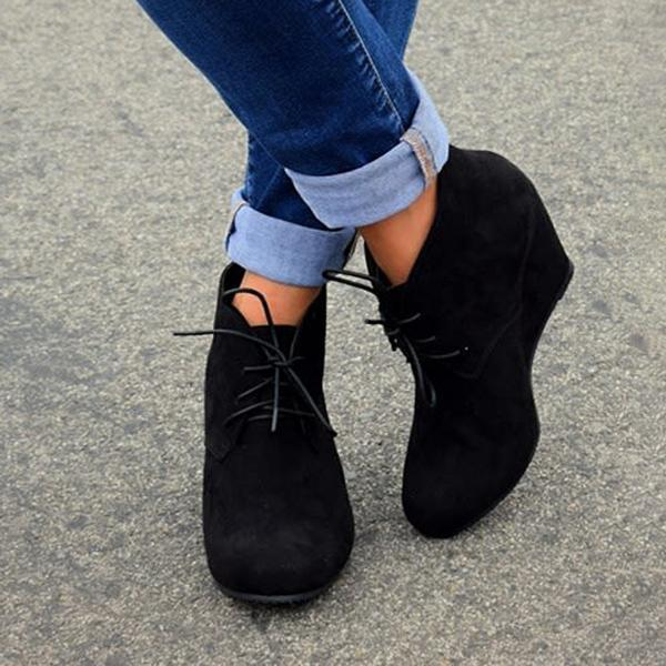 Jolimall Fashion Lace-Up Wedge Booties