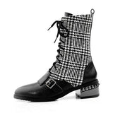 Jolimall Womens Lace-Up Low Heel Daily Fall Boots