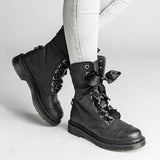 Jolimall 9-Eyelet Soft Ribbon Classic Lace-Up Boots