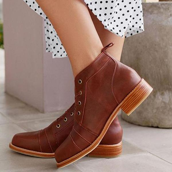 Jolimall Side Zipper Lace Up Low Boots