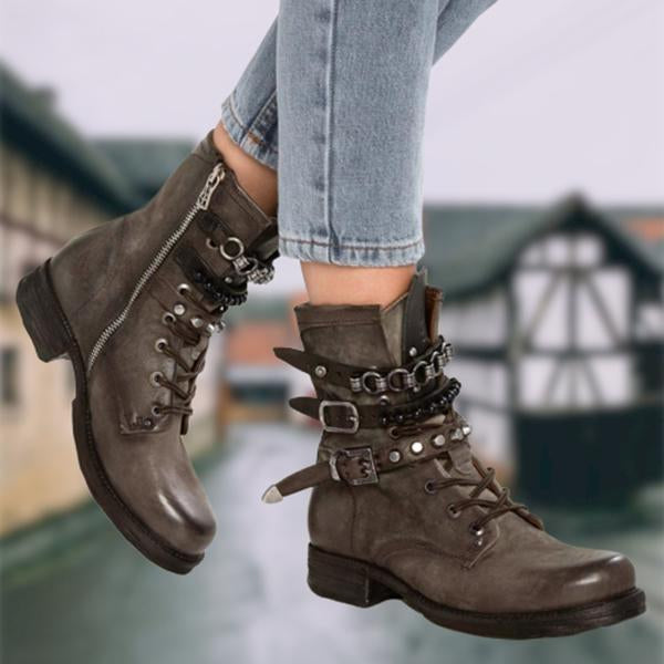 Jolimall Panel Low Heel Pu Casual Boots