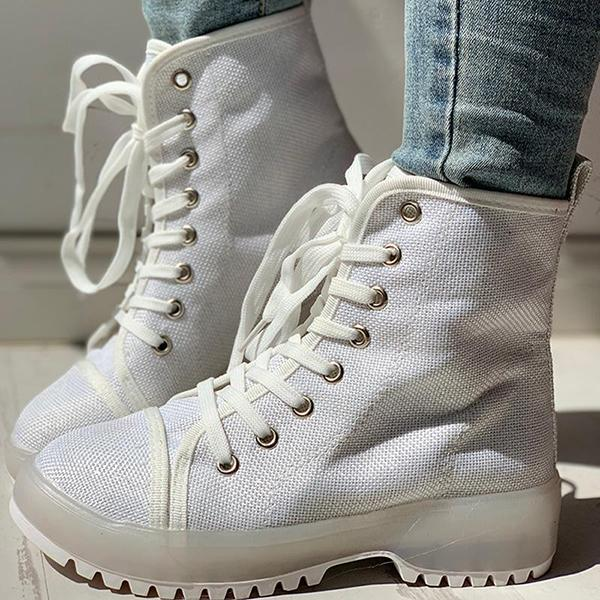 Jolimall Solid PU Lace-Up Chunky Heel Boots