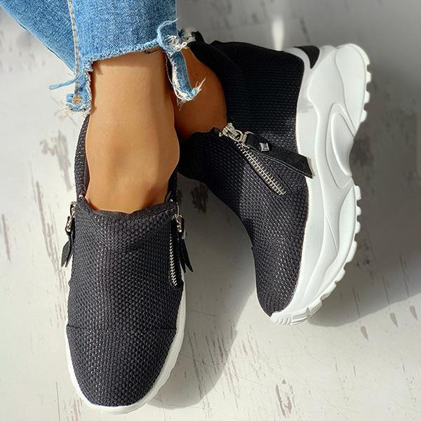 Jolimall Zipped Design Platform Casual Sneakers