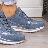 Jolimall Gray All Season Faux Leather Sneakers