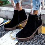 Jolimall Holiday Chunky Heel Zipper Winter Boots