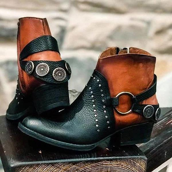 Jolimall Vintage Leather Casual Boots