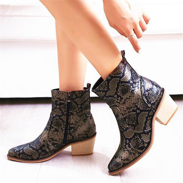 Jolimall Pointed Toe Chunky Heel Zipper Boots