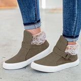 Jolimall Buckle Strap Fur Lined Casual Warm Sneakers
