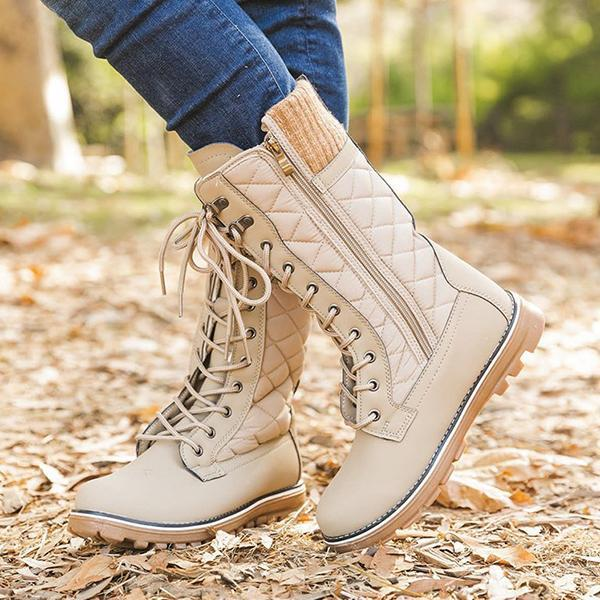 Jolimall Womens Lace Up Comfy Winter Boots Mid-Calf Casual Boots