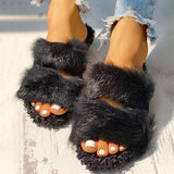 Jolimall Fluffy Hollow Out Casual Flat Slippers