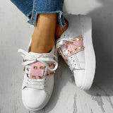 Jolimall Colorblock Studded Lace-Up Casual Sneakers