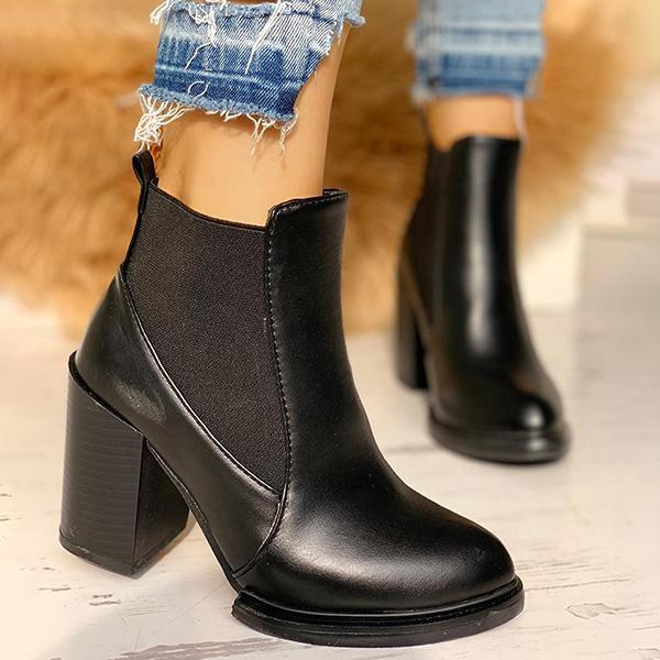 Jolimall Pointed Toe Chunky Heeled Boots