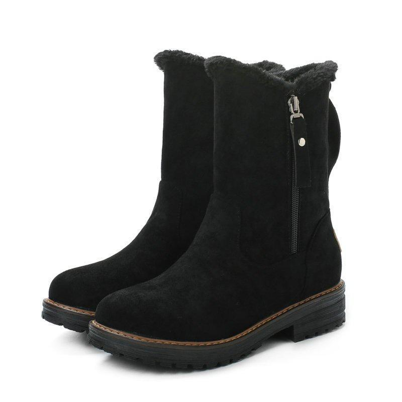 Jolimall Women Round Toe Snow Zipper Casual Artificial Suede Boots