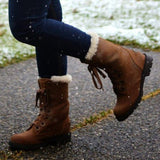 Jolimall Plus Size Low Heel Womens Snow Boots Mid-Calf Winter Boots