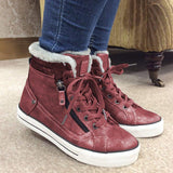 Jolimall Women Round Toe Lace Up Warm Snow Pu Casual Flat Heel Sneakers