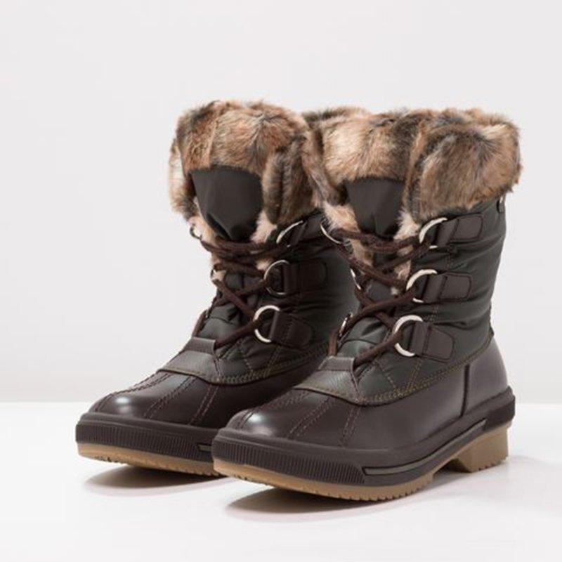 Jolimall Lace Up Duck Boots Block Heel Mid-Calf Snow Boots