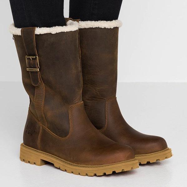 Jolimall Pu Working Chunky Heel Winter Boots