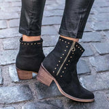 Jolimall Vintage Rivet Ankle Boots Side Zipper Chunky Heel Boots