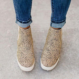 Jolimall Daily Leopard Slip On Wedge Sneakers