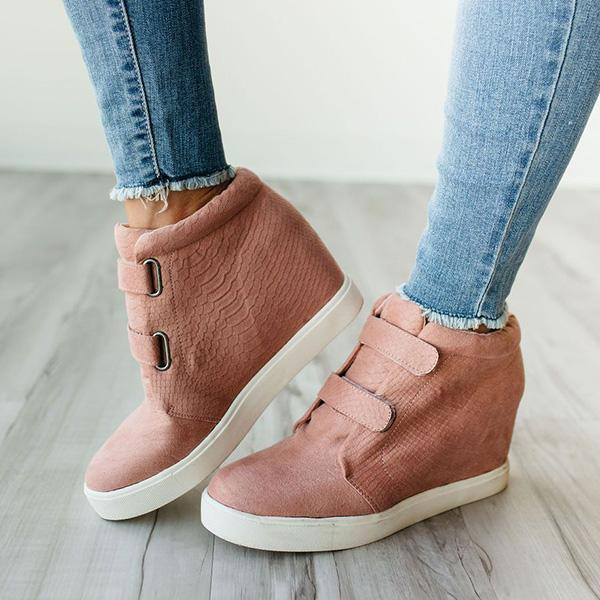 Jolimall Pu Buckle Straps Wedge Sneakers