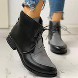 Jolimall Pointed Toe PU Lace-Up Chunky Heeled Boots