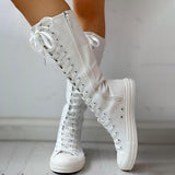 Jolimall Canvas Side Zipped Lace-Up Boots
