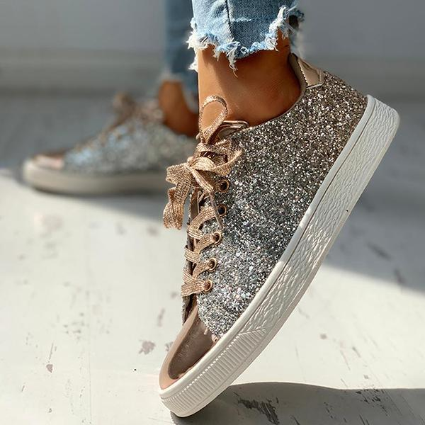 Jolimall Glitter Sequins Eyelet Lace-up Sneakers