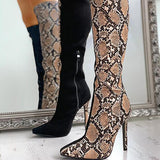 Jolimall Snakeskin Colorblock Zipped Thin Heeled Boots