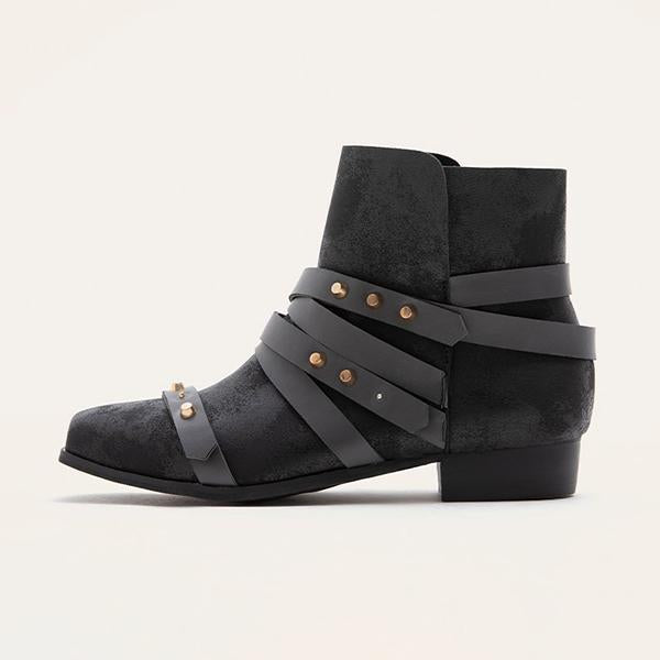 Jolimall Black Distressed Buckle Wrap Straps Boots
