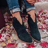 Jolimall Daily Casual Faux Suede Chunky Heel Boots