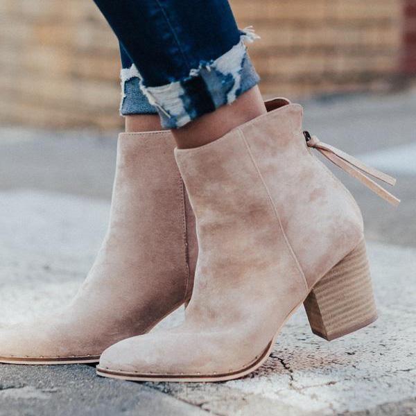 Jolimall Daily Casual Faux Suede Zipper Boots
