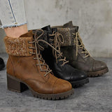 Jolimall Women Casual Lace-Up Chunky Heel Ankle Boots(Ship In 24 Hours)
