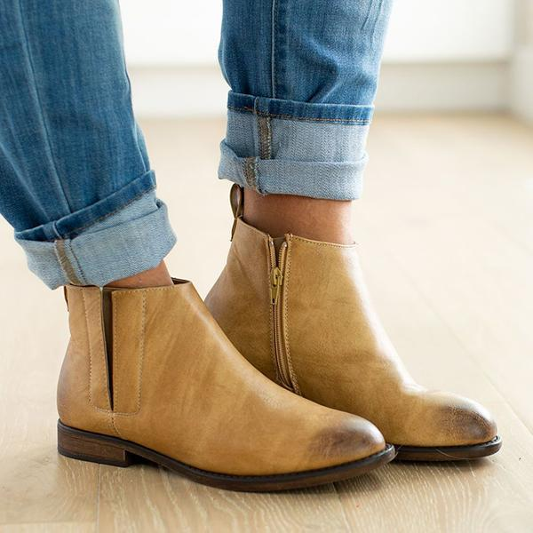 Jolimall Daily Casual Faux leather Almond Toe Tillman Booties