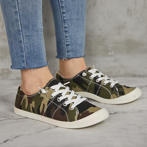 Jolimall Canvas Authentic Lace up Casual Flat Sneakers(Ship In 24 Hours)