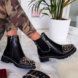Jolimall Featuring Studded Detail Slip On Flat Ankle Boots