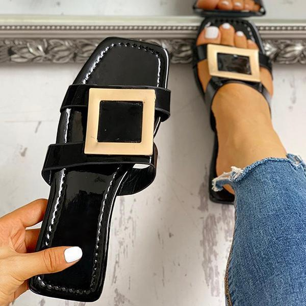 Jolimall Square Toe Buckled Flat Sandals