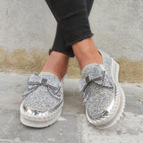 Jolimall Women Shining Rhinestone Slip-on Loafers&Sneakers with Cute Bowknot