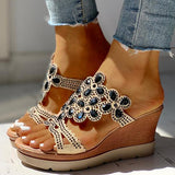 Jolimall Studded Platform Wedge Casual Slingback Sandals