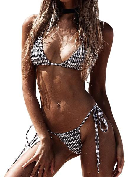 Jolimall Two Pieces Bikini for Women Triangle Tops G-String Grid Swimwear Swimsuit