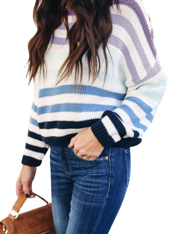 Jolimall Long Sleeve Striped Loose Pullover Sweaters