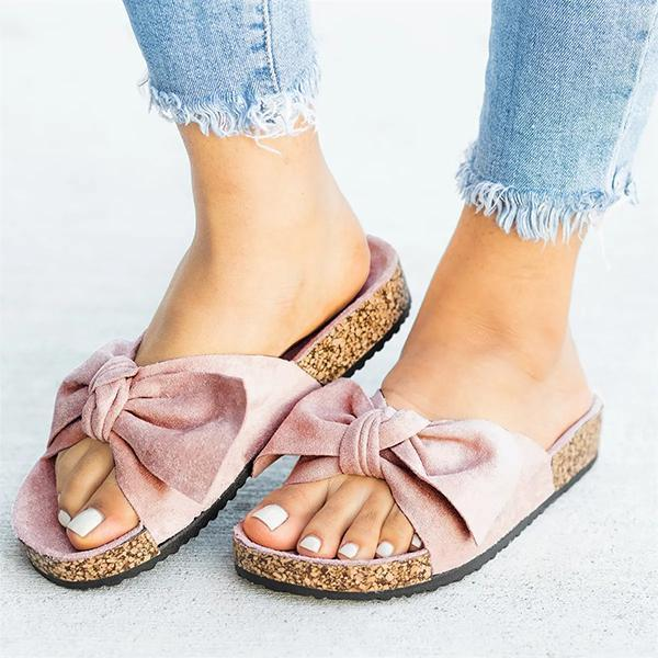 Jolimall Cute Bowknot Platform Flat Slippers(Ship In 24 Hours) - Jolimall
