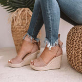 Jolimall Espadrille Lace Up Wedge Braided Sandals