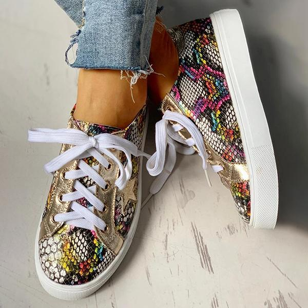 Jolimall Lace-Up Star Pattern Casual Sneakers