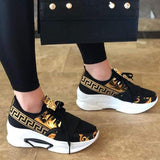 Jolimall Lace-Up Low-Cut Upper Round Toe Print Casual Sneakers