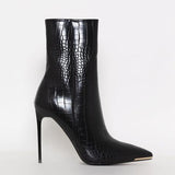 Jolimall Stiletto Zipper Snake Print Pointed-Toe Boots