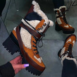 Jolimall Stitching Warm Thick-Soled Fashion Autumn Winter Boots