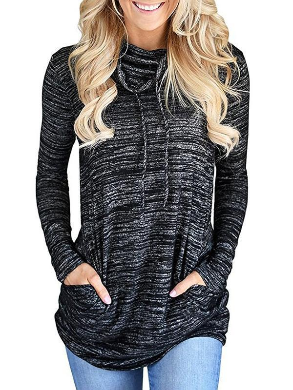 Jolimall Casual Drawstring Pocket Pullover