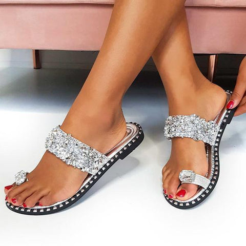 Jolimall Embellished Open Toe Slippers(ship in 24 hours)