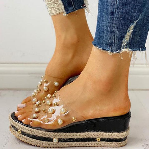 Jolimall Transparent Espadrille Platform Sandals(Ship In 24 Hours)