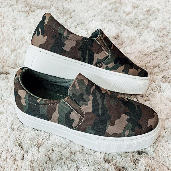 Jolimall Army Green Slip-on Sneakers